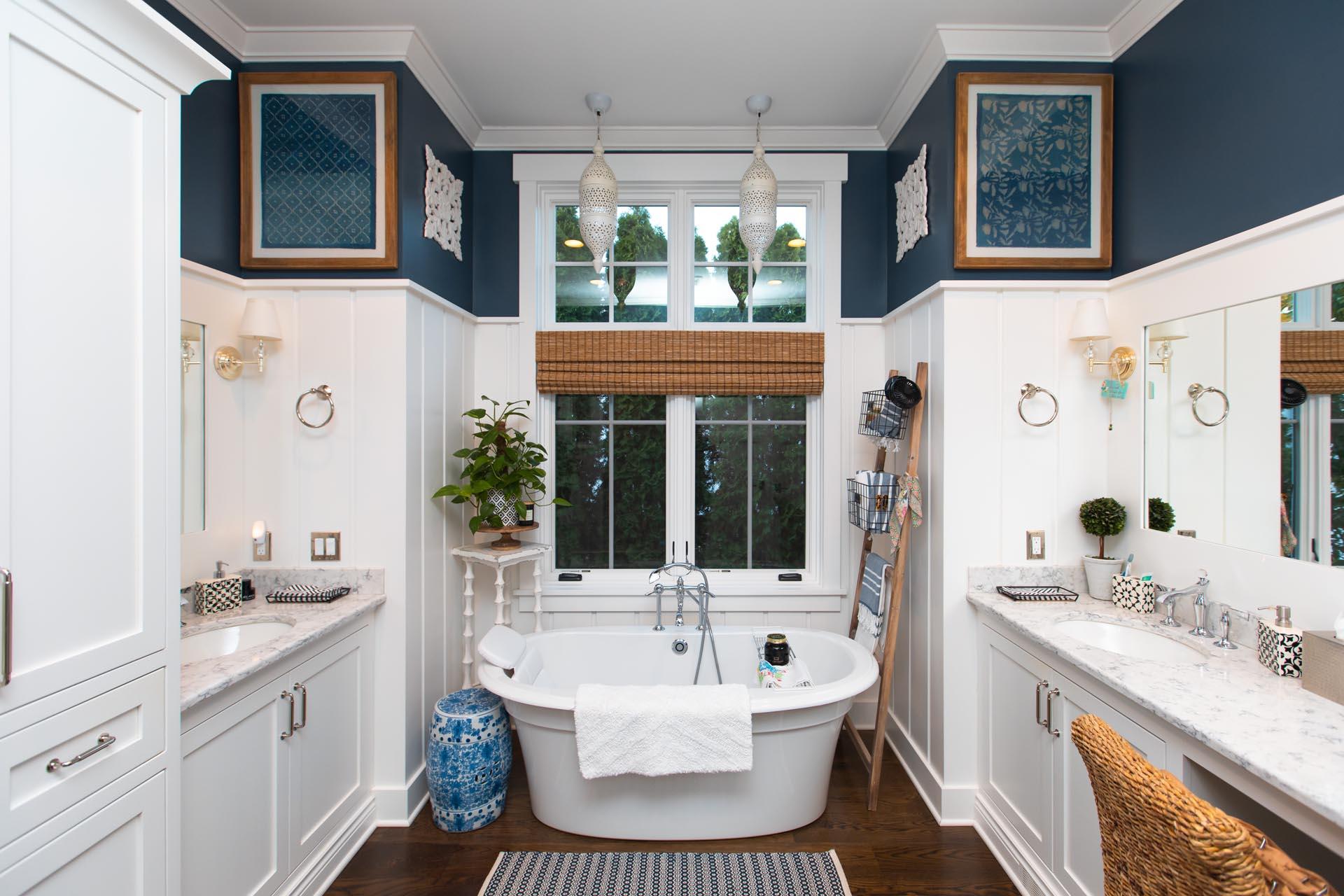 Custom Bath in Craftsman Lakefront Home Construction