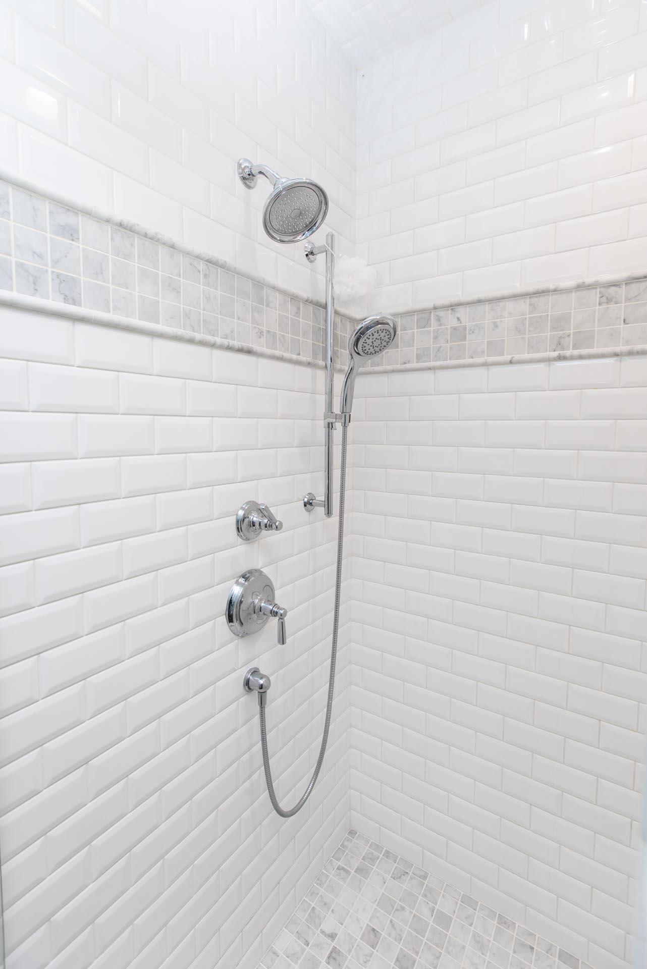 Custom Shower in Craftsman Lakefront Home Construction